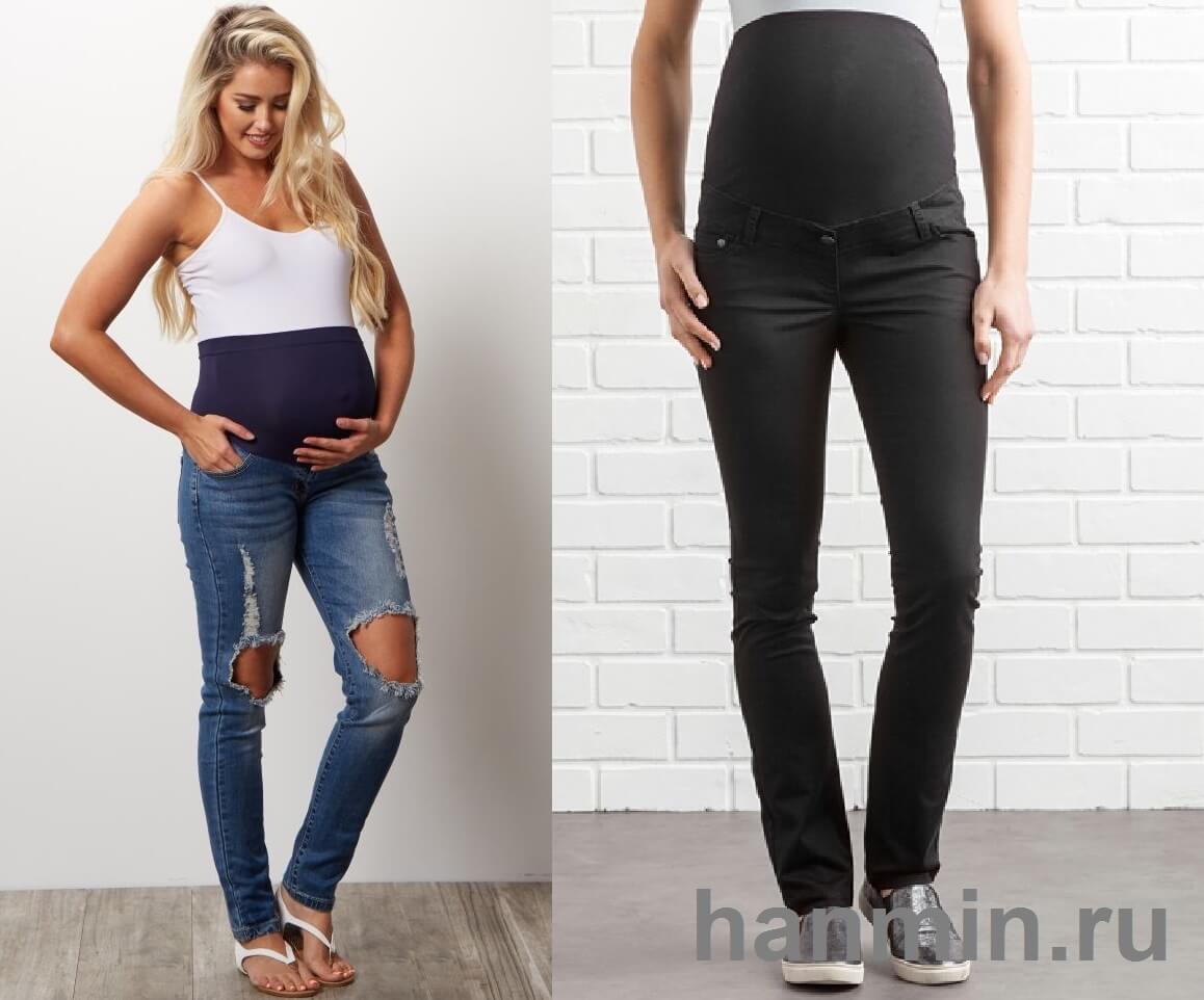 Как носить обычные джинсы беременным 73
